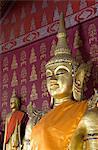 Buddha statues in the main temple, Wat Saen, Luang Prabang, Laos, Indochina, Southeast Asia, Asia