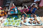 Mali Tribeswomen Verkauf von Chilis und Süßkartoffeln bei pro Markt, Rayagader, Orissa, Indien, Asien