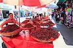 Vendor selling chapulines (fried grasshoppers), Oaxaca City, Oaxaca, Mexico, North America