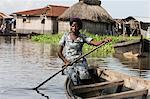 Boat, Ganvie lake village on Nokoue Lake, Benin, West Africa, Africa