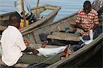 Fishermen in Ganvie lake village on Nokoue Lake, Benin, West Africa, Africa