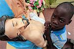 African boy praying, Cotonou, Benin, West Africa, Africa