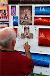 Painter at the Place du Tertre, Montmartre, Paris, France, Europe