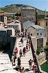 Tourists on Stari Most (Old Bridge), UNESCO World Heritage Site, Mostar, municipality of Mostar, Bosnia and Herzegovina, Europe