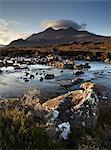 A winter morning view of the mountain Sgurr nan Gillean, Glen Sligachan, Isle of Skye, Inner Hebrides, Scotland, United Kingdom, Europe