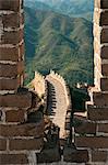 Vue de la tour de guet de la grande muraille de Chine, patrimoine mondial de l'UNESCO, Huanghuacheng (fleur jaune), de la dynastie Ming, Jiuduhe Zhen, Huairou, Chine, Asie