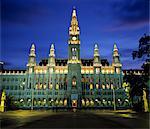 Rathaus (Town Hall) Gothic building at night, UNESCO World Heritage Site, Vienna, Austria, Europe