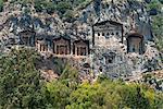 Lycian Rock Tombs of Caunos, near Dalyan, Aegean, Anatolia, Turkey, Asia Minor, Eurasia
