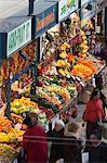 Fruit and vegetable stalls, Central Market (Kozponti Vasarcsarnok), Budapest, Hungary, Europe