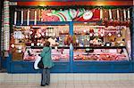 Chorizo and sausage stall, Central Market (Kozponti Vasarcsarnok), Budapest, Hungary, Europe