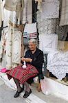 Dentelle boutique, Kritsa, Lasithi région, Crète, îles grecques, Grèce, Europe