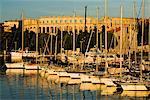 Sunset over marina to the Roman Amphitheatre, Pula, Istria, Croatia, Adriatic, Europe