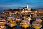 Dusk over harbour and St. Euphemia's Church, Rovinj, Istria, Croatia, Adriatic, Europe