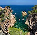 Abgelegene Bucht, Aiguaxelida, in der Nähe von Palafrugell, Costa Brava, Katalonien, Spanien, Mittelmeer, Europa