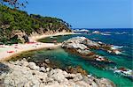 Cala Estreta, Cap Roig, in der Nähe von Calella de Palafrugell, Costa Brava, Katalonien, Spanien, Mittelmeer, Europa