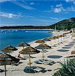 Strand-Ansicht Pinarellu, Südostküste, Korsika, Mittelmeer, Europa