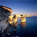 Die Falaise bei Sonnenuntergang, Bonifacio, Südkorsika, Korsika, Frankreich, Mediterranean, Europa