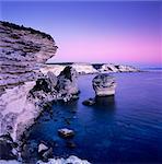 Die Falaise in der Abenddämmerung, Bonifacio, Südkorsika, Korsika, Frankreich, Mediterranean, Europa