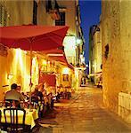 Evening restaurant scene in Haute Ville, Bonifacio, South Corsica, Corsica, France, Europe