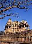 Un des temples Chandela à Khajuraho, patrimoine mondial UNESCO, Madhya Pradesh, Inde, Asie