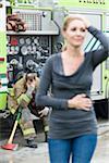 Firefighter and Woman, Florida, USA