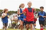 Children walking on soccer pitch