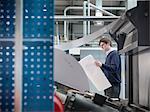 Printer holding paper at press