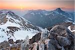 sunset in mt falschkogel, lechtaler alps, tirol