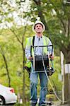 Dévidoir installateur déroulage des câbles