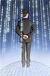 Homme debout sur un globe binaire avec des chaînes binaires