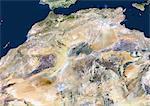 Pays du Maghreb, True Image Satellite en couleurs. Vrai couleur image satellite du Maghreb, région de l'Afrique, au nord du désert du Sahara et à l'ouest du Nil - en particulier, qui coïncide avec les montagnes de l'Atlas. Cette zone comprend le Maroc, Sahara occidental, l'Algérie, la Tunisie, la Libye et la Mauritanie. Cette image a été compilée à partir de données acquises par les satellites LANDSAT 5 & 7.