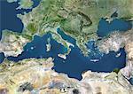 Bassin méditerranéen, True Image Satellite en couleurs. La mer Méditerranée. Images de satellite de véritable couleur montrant la mer Méditerranée. Abrite les Alpes (juste au-dessus de centre, blanc), la mer de Blakek (au centre à droite) et le Delta du Nil (verts, inférieur droit). Cette image a été compilée à partir de données acquises par les satellites LANDSAT 5 & 7.