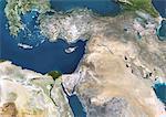 Vue satellite des déserts d'Arabie saoudite et ses environs