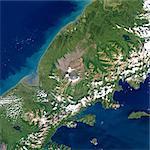 Satellite View of Aniakchak Volcano, Alaska, Usa