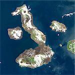 Vue satellite de Galapagos volcans, archipel des Galapagos