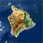 Volcan Mauna Loa, Hawaii, Usa, True Image Satellite en couleurs. Image-satellite Mauna Loa, Hawaii, couleur vraie. Mauna Loa (4170m), une des montagnes plus hautes dans le monde, est situé sur la grande île de Hawai. Image composite en date de 2000-2001 à l'aide de données LANDSAT. Impression format 30 x 30 cm.