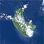 Yasur volcan, Vanuatu, Pacifique, Image Satellite de la couleur vraie. Image satellite de Yasur volcan, Vanuatu, couleur vraie. Yasur (365 m) est un petit volcan actif sur l'île de Tanna, Vanuatu. Image composite du 1999-2000 à l'aide de données LANDSAT. Impression format 30 x 30 cm.
