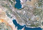 Iran, Moyen-Orient, Asie, True Image Satellite couleur avec bordure. Vue satellite de l'Iran (avec bordure). Cette image a été compilée à partir de données acquises par les satellites LANDSAT 5 & 7.