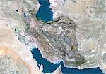 Iran, Moyen-Orient, Asie, True Image Satellite couleur avec bordure et masque. Vue satellite de l'Iran (avec bordure et masque). Cette image a été compilée à partir de données acquises par les satellites LANDSAT 5 & 7.