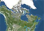 Canada, Amérique du Nord, véritable couleur Image Satellite avec bordure. Vue satellite du Canada (avec bordure). Cette image a été compilée à partir de données acquises par les satellites LANDSAT 5 & 7.