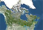 Canada, Amérique du Nord, True Image-Satellite couleur avec bordure et masque. Vue satellite du Canada (avec bordure et masque). Cette image a été compilée à partir de données acquises par les satellites LANDSAT 5 & 7.