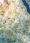 Soudan, Afrique, vraie couleur Image Satellite avec bordure. Vue satellite du Soudan (avec bordure). Cette image a été compilée à partir de données acquises par les satellites LANDSAT 5 & 7.