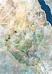 Soudan, Afrique, True Image-Satellite couleur avec bordure et masque. Vue satellite du Soudan (avec bordure et masque). Cette image a été compilée à partir de données acquises par les satellites LANDSAT 5 & 7.