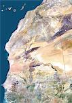 Mauritanie, Afrique, vraie couleur Image Satellite avec bordure. Vue satellite de la Mauritanie (avec bordure). Cette image a été compilée à partir de données acquises par les satellites LANDSAT 5 & 7.