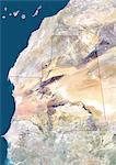 Mauritanie, Afrique, True Image-Satellite couleur avec bordure et masque. Vue satellite de la Mauritanie (avec bordure et masque). Cette image a été compilée à partir de données acquises par les satellites LANDSAT 5 & 7.
