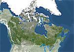 Canada, Amérique du Nord, véritable couleur Satellite Image avec masque. Vue satellite du Canada (avec masque). Cette image a été compilée à partir de données acquises par les satellites LANDSAT 5 & 7.