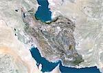 Iran, Moyen-Orient, Asie, True Image Satellite couleur avec masque. Vue satellite de l'Iran (avec masque). Cette image a été compilée à partir de données acquises par les satellites LANDSAT 5 & 7.