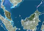 Malaisie, Asie, véritable couleur Satellite Image avec masque. Vue satellite de la Malaisie (avec masque). Cette image a été compilée à partir de données acquises par les satellites LANDSAT 5 & 7.