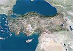 Image de la Turquie, Asie, vrai couleur Satellite avec masque. Vue satellite de la Turquie (avec masque). Cette image a été compilée à partir de données acquises par les satellites LANDSAT 5 & 7.