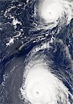 Hurricanes Gordon And Helene, Atlantic Ocean, In 2006, True Colour Satellite Image. Hurricane Gordon on the top, with Hurricane Helene to the southeast on 18 September 2006 over the Atlantic ocean. True-colour satellite image using MODIS data.
